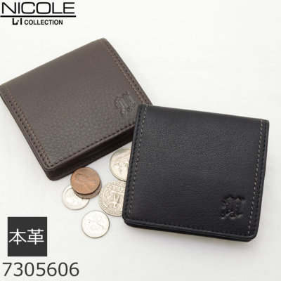 NICOLE 小銭入れ 財布 コインケース メンズ ニコル ブラック ブラウン シンプル 革 コンパクト 人気 おすすめ